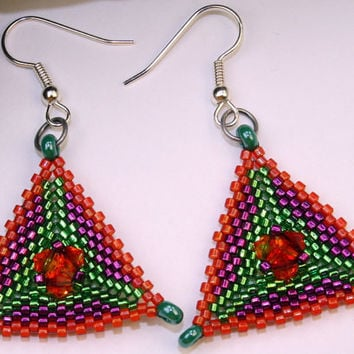 Peyote stitch seed bead dangle earrings, Handmade triangles, Swarovski crystals and cylinder beads