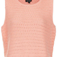 Knitted Sleeveless Crochet Top - Tops  - Clothing