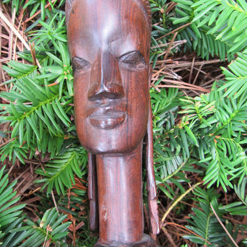 Mid Century African Wood Carved Female Tribal Princess Bust Figurine