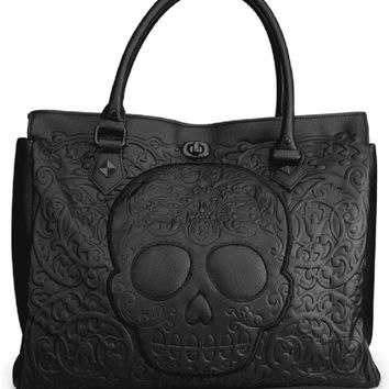 "Women's ""Lattice Skull"" Tote Bag by Loungefly (Black)"