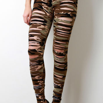 Camo Print Razor Cut Leggings