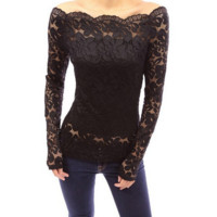 Sexy Flower Crochet Lace shirt 02D160829_A