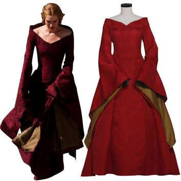 Game of Thrones Cosplay Cersei Lannister Costume  Red Dress Medieval Renaissance