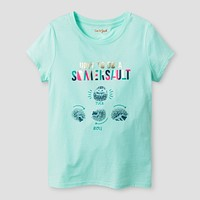 Girls' Somersault Animal Graphic Tee - Cat & Jack™ Aqua Float