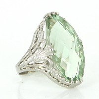 Ostby Barton Vintage Green Amethyst Filigree Cocktail Ring 14 Karat White Gold