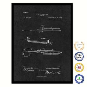 1892 Barber Shears Vintage Patent Artwork Black Framed Canvas Home Office Decor Great Gift for Barber Salon Hair Stylist