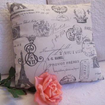 French Script Accent Pillow with Chevron Back