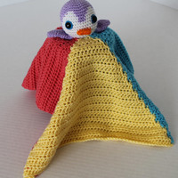 Crochet Cuddly Blanket with Stuffed Lil Purple Penguin - Kids Toy