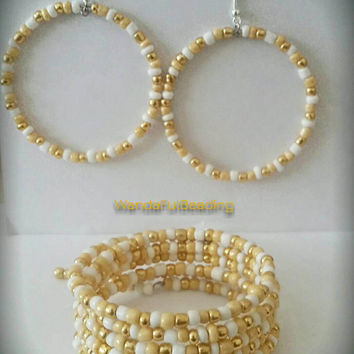 Gold and White Mix Memory Wire Bracelet and Earrings Set - $10.00 - Handmade Jewelry, Crafts and Unique Gifts by WandaFulBeading