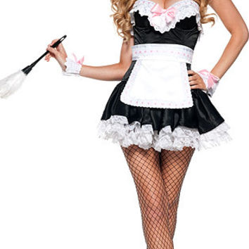 Strapless Ruffled Lace Mini Skater Downstairs Maid Costume Set