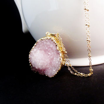 Long Purple Druzy Necklace, Natural Stone Pink Pendant, Lilac Geode, Layering Jewelry, Long Fall Necklace