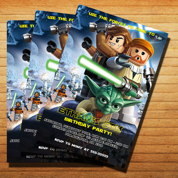 Design Lego Star Wars Birthday Invitation Cards 4x6, 5x7, Customized