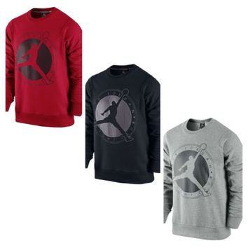 New Men's Air Jordan Flight Club Graphic Crew Neck Sweatshirt Black Red & Grey