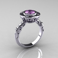 Modern Antique 14K White Gold 1.0 Carat Lilac Amethyst Diamond Designer Engagement Ring RR131-14KWGDLA