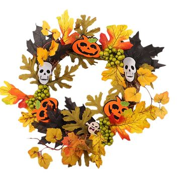1pcs Flower Wreath Decorative Pumpkins Artificial Maple Leaf Creative Wreath for Party Halloween Home Decorations