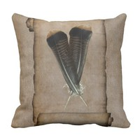 Turkey Feather Quill Throw Pillow
