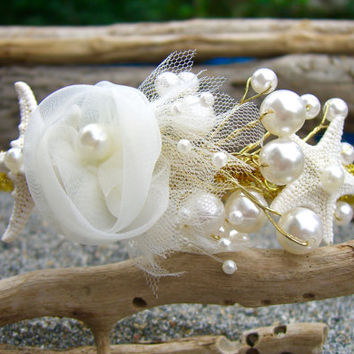 Gold Beach Wedding Hair Accessories,Starfish Headband,Destination Wedding,Beach Bridal Crown,Nautical Hair Accessories,Gold Hair Accessory