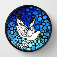 Peaceful Journey - Vibrant white dove by Labor Of Love artist Sharon Cummings. Wall Clock by Sharon Cummings