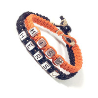 Orange Black His & Hers Bracelets Great for Wedding Gift