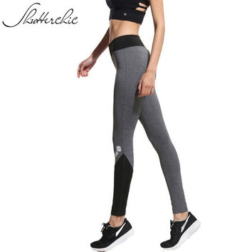 2016 Fitness Black Grey Patchwork Yoga Pants Women Leggings Sports Trousers Running Girl Gym Clothes Hot Athletic Sportswear