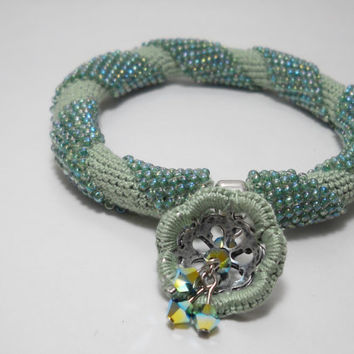 Lucite green bracelet - Mint green bracelet -Spiral crochet rope with beads - Beaded bracelet -