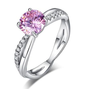 925 Sterling Silver Wedding Promise Anniversary Ring 1.25 Ct Fancy Pink Simulated Diamond