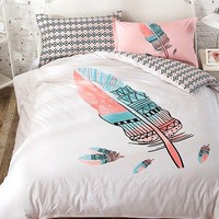 Colorful Feather Print Bohemian Style Queen Size 100% Cotton Duvet Cover Set