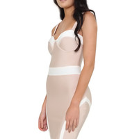 Giselle Nude and White Bustier Bandage Dress