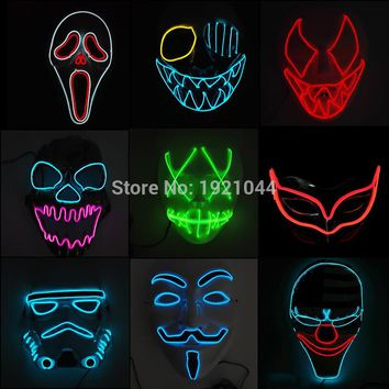 High-grade Hot Halloween Mask LED Mask Flashing EL wire Glowing Flexible LED Neon light For dance DJ Carnival Party Supplies