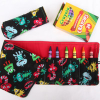 Crayon Roll Cute Monster, Crayon Holder, Birthday Party Favor, 16 Crayola Crayons Included