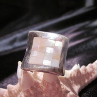 Mother of pearl stamped sterling ring - MOP silver mother of pearl jewelry MOP rings sterling rings MOP inlay silver inlaid rings sterling