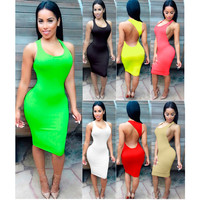 Sleeveless Backless Midi Bodycon Dress