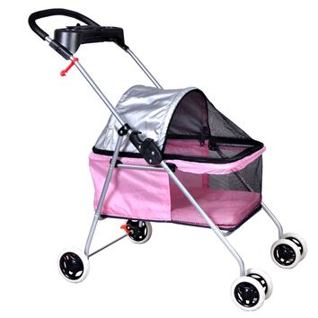 New BestPet Cute Pink Posh Pet Stroller Dogs Cats w/Cup Holder