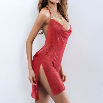 Special Red Crystal Dress Womens Sexy Party Night Club Dress Metal Diamond Chain SlingHalter Backless Dresses Clothing YY1