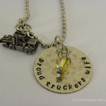 Proud Truckers Wife silver necklace silver hand stamped distressed with semi tractor and Swarovski crystal