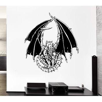 Wall Decal Dragon Fire Serpent Tale Monster Reptile Mural Vinyl Decal Unique Gift (ed373)