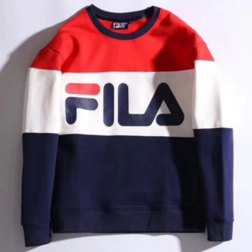 FILA Long Sleeve Round Neck Pullover Splicing Fashion Casual Sweater Red