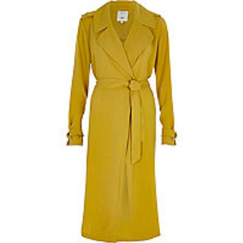 Yellow tie belt duster trench coat - Coats - Coats / Jackets - women
