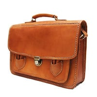 Brown Retro Briefcase Leather Bag - Medium Suitcase Hand Stitched Covered with Brown Velvet