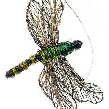 Dragonfly art brooch Green dragonfly jewelry brooch Wire sculpture insect art jewelry Big unusual brooch pin Contemporary jewelry Art gift