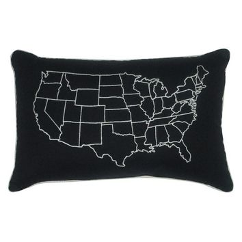 US Map Embroidered Pillow (12 x 18)