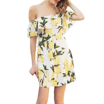 Women Fashion Casual Short Sleeve Fruit Lemon Print Print Dress