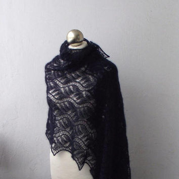 Navy Blue hand knitted kid silk  lace stole, knitted lace shawl