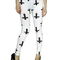 Simplicity Punk Leggings with Large inverted Cross Stretch Pants