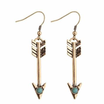 Turquoise Boheman Arrow Earrings