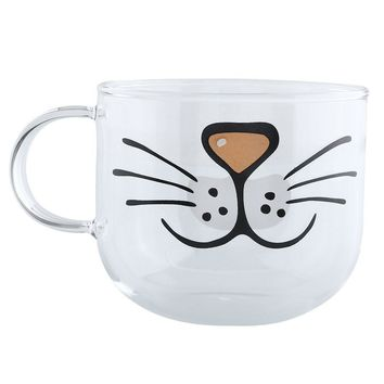 Large Glass Cat Mouth Mug