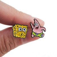 SpongeBob SquarePants and Patrick Star Shaped Stud Earrings