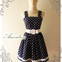 NEW Amor Vintage 50's Rockabilly Inspired Navy and White Polka Dot Love Vintage Red Belt -Fit Size M-