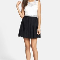 As U Wish 'Eve' Lace Bodice Cutout Skater Dress (Juniors)