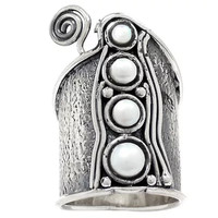Pearl Whimsical Sterling Band Ring